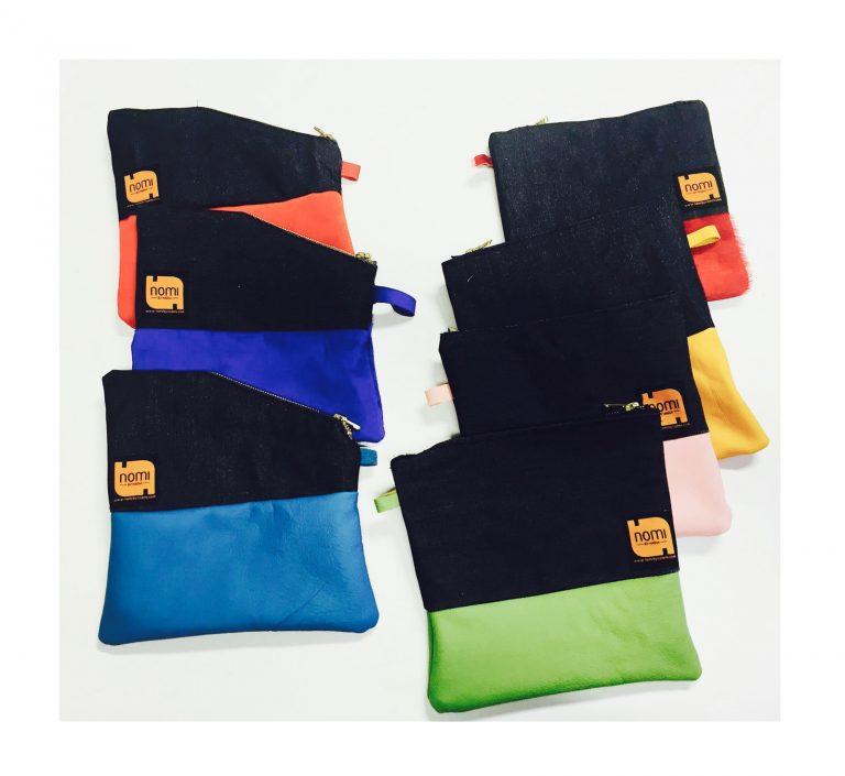 mini denim and leather clutch